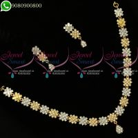 Gold Silver Dual Two Tone Plated Necklace Set Diamond Design Jewellery