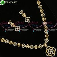 Dual Two Tone Plated Floral Necklace Set Diamond Design Jewellery