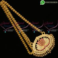 Gold Traditional Pendant Chain Lotus Design Imitation South Indian Jewellery