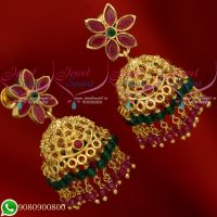 Jhumkas Gold Plated Online Crystal Danglers Real Look Jewellery