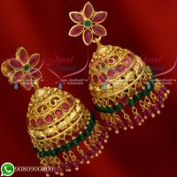 Jhumkas Gold Plated Crystal Danglers Latest Designs Jewellery