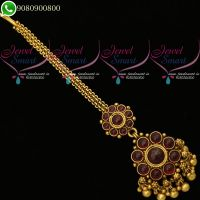 Kemp Red Antique Jewellery MaangTikka Traditional Nethichutti Online