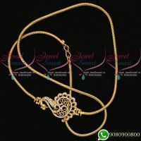 Mugappu Chains Peacock Design Thali Kodi Roll Gold Plated
