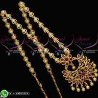 Pearl Chain Stone Pendant Latest Imitation Jewellery Low Prices Online