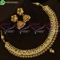 Pearl Jewellery Simple Design Antique Gold Plated Necklace Jhumki