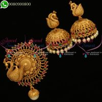 Pendant Set Peacock Design Jhumka Earrings Antique Gold Plated