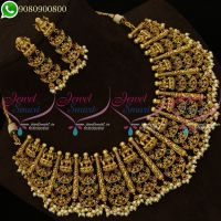 Temple Jewellery Beautiful Grand Bridal Broad Necklace Set Online