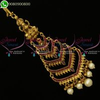 Temple Jewellery Antique Gold Plated Maangtikka Bridal Nethichutti Designs
