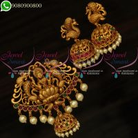Temple Jewellery Pendant Set Jhumka Earrings Antique Gold