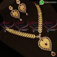 American Diamond Jewellery Set Gold Plated Traditional Imitation Necklace