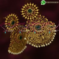 Antique Gold Plated Big Earrings Latest Bridal Fashion Jewellery Online