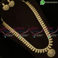 Bridal Long Necklace Gold Plated American Diamond Mango Design