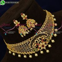 Choker Necklace AD Stones Jewellery New Peacock Designs Online
