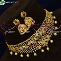 Choker Necklace Gold Plated Jewellery AD Stones Designs Online