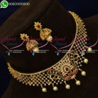 Choker Necklace Small Size Gold Plated Jewellery Designs