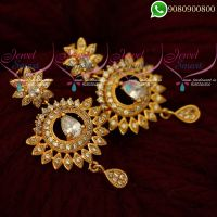 Gold Covering Earrings South Indian AD Stones Jewellery Online
