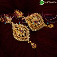 Gold Covering Stone Earrings South Indian Screwback Imitation Collections