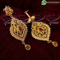 Gold Covering Ruby Emerald Earrings South Indian Screwback Imitation