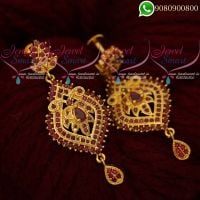 Gold Covering Ruby Earrings South Indian Screwback Imitation Collections