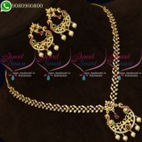Gold Plated Jewellery Stone Necklace Chand Bali Design Online