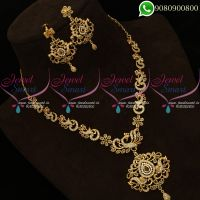 Gold Plated Necklace Polki Stones Peacock Design Jewellery Online