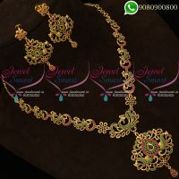 Gold Plated Peacock Jewellery American Diamond Stones Online