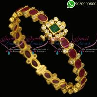Kada Bracelet Screw Open American Diamond Ruby Emerald Stones