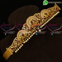 Kids Jewellery Vaddanam Peacock Design Antique Gold Plated Jewellery