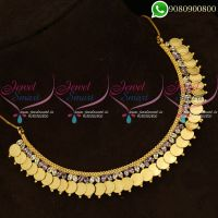 Laxmi Coin Necklace Purple AD White Kasumala Temple Jewellery