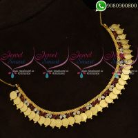 Laxmi Coin Necklace Ruby Stones Kasumala Temple Jewellery