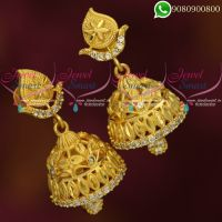 One Gram Gold Jhumki Earrings South Indian Traditional Screwback