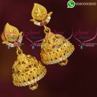One Gram Gold Jhumki Ruby Earrings South Indian Traditional Jewellery