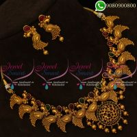 Peacock Jewellery Antique Gold Plated Necklace Set Intricately Designed