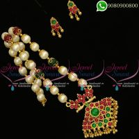 Pearl Jewellery Beaded South Indian Kemp Stones Traditional Designs