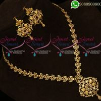 Polki Stones Jewellery Set Necklace Leaf Design Online