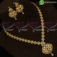 Polki Stones Traditional Necklace Set Gold Plated South Indian Online