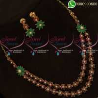 Semi Precious American Diamond Stones Layered Necklace Online
