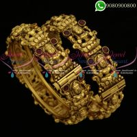 Temple Jewellery Bangles Antique Nagas Work Gold Plated Traditional Designs