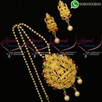 Temple Jewellery Chain Pendant Set Laxmi God Design Online