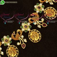 Temple Jewellery Ram Parivar Coin Gheru Reddish Gold Plated AD Stones