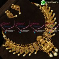 Temple Jewellery Peacock Chain Laxmi God Pendant Intricately Designed