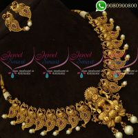 Temple Jewellery Gold Finish Intricately Designed Necklace Set Online