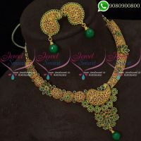 Antique Gold Plated Jewellery Set Green Stones Intricate Finish Online