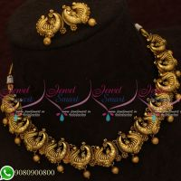 Antique Gold Plated Peacock Necklace Nagas Jewellery Designs Online