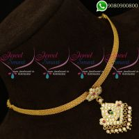 Attigai Gold Design South Indian Traditional AD Stones Necklace Online