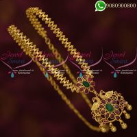 Chain Pendant Set Gold Plated Ruby Emerald AD Stones Online
