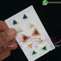 Colour Changeable Ear Studs AD Stones Triangle Shape Design Online