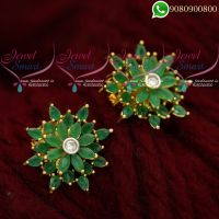 Ear Studs for Women Emerald Stones Latest Jewellery Designs