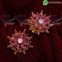 Ear Studs for Women Ruby Stones Latest Jewellery Designs