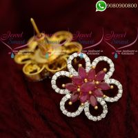 Ear Studs for Women Ruby Stones Floral Jewellery Designs